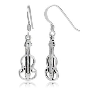 925 Sterling Silver Cut Open Violin Viola Musical Instrument Dangle Hook Earrings