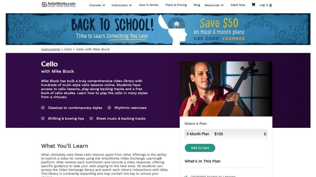 Website of ArtistWorks for learning cello online