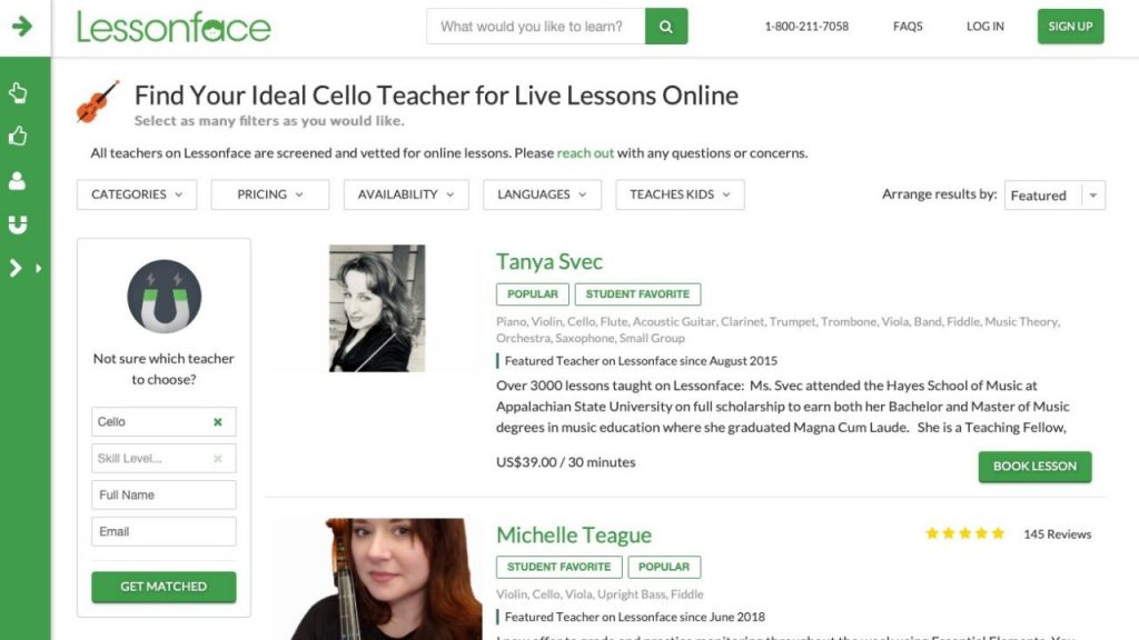 Website of LessonFace for learning cello