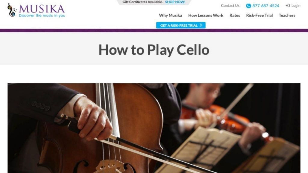 Home page of Musika's online cello course