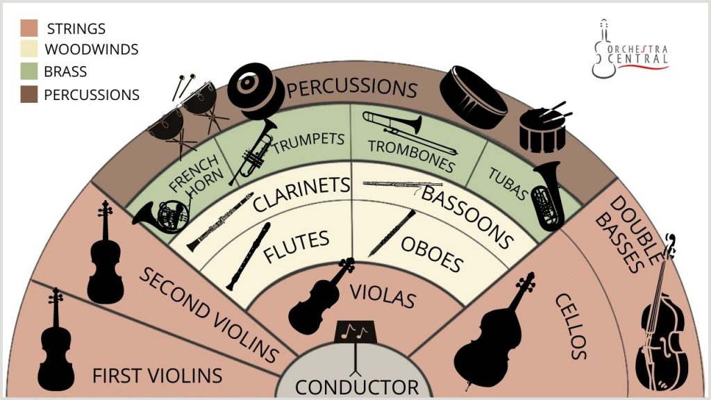 A picture of basic orchestra arrangement from Orchestra Central