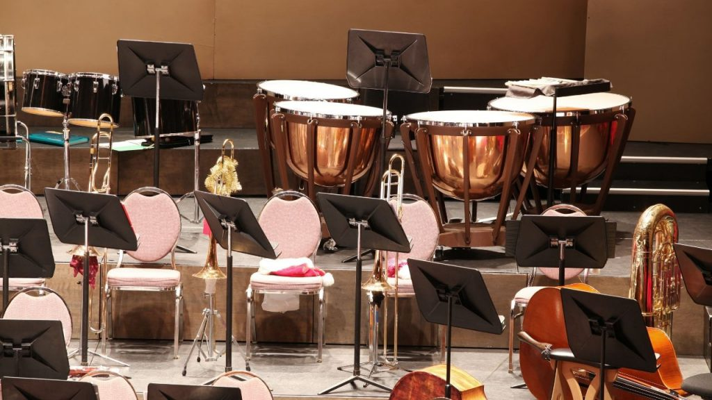 A picture of percussions in an orchestra