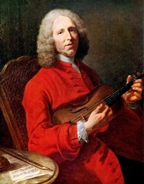A portrait of Baroque composer Jean Philippe Rameau while holding a violin
